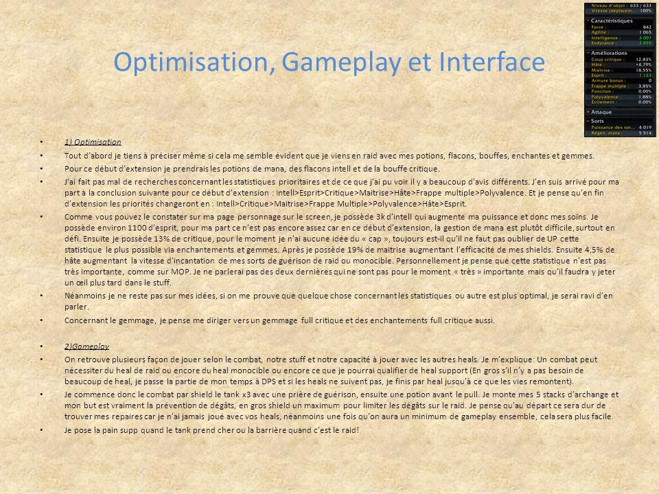 Optimisation, Gameplay et Interface 1) Optimisation Tout d'abord je tiens à préciser même si cela me semble évident que je viens en raid avec mes poti