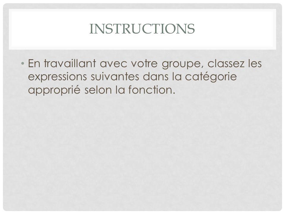 INSTRUCTIONS En travaillant avec votre groupe, classez les expressions suivantes dans la catégorie approprié selon la fonction.