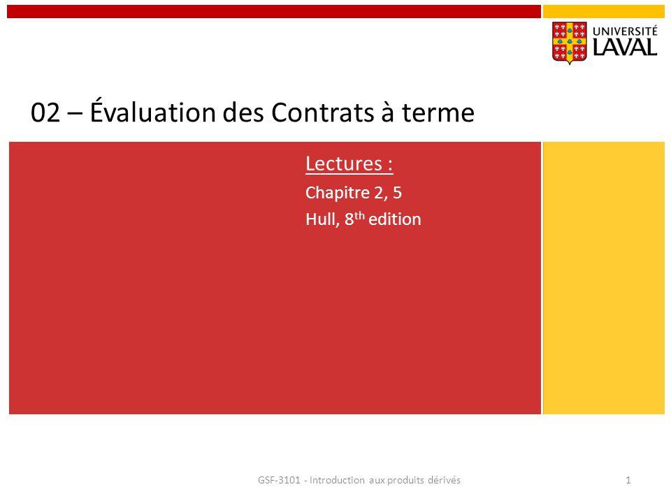 02 – Évaluation des Contrats à terme Lectures : Chapitre 2, 5 Hull, 8 th edition GSF-3101 - Introduction aux produits dérivés1