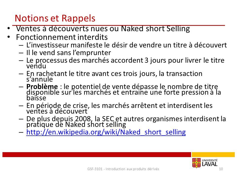Notions et Rappels Ventes à découverts nues ou Naked short Selling Fonctionnement interdits – L'investisseur manifeste le désir de vendre un titre à d