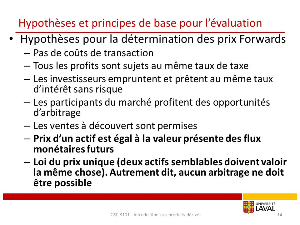Hypothèses et principes de base pour l'évaluation Hypothèses pour la détermination des prix Forwards – Pas de coûts de transaction – Tous les profits