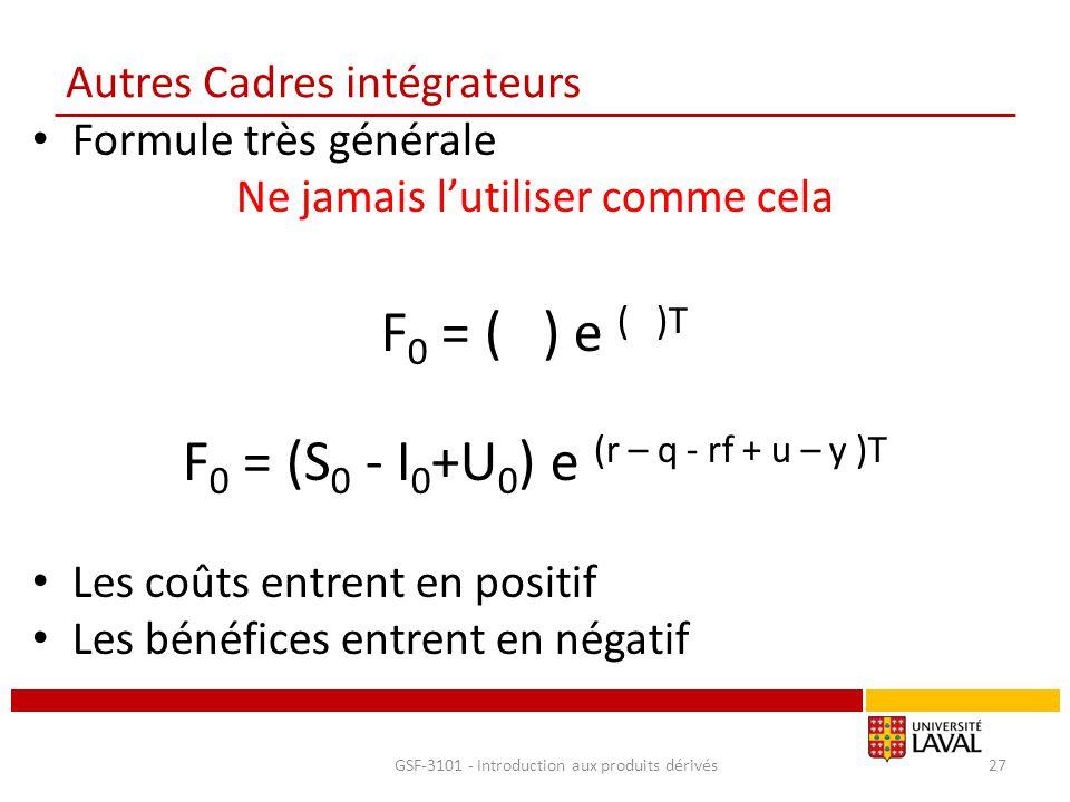 Autres Cadres intégrateurs Formule très générale Ne jamais l'utiliser comme cela F 0 = ( ) e ( )T F 0 = (S 0 - I 0 +U 0 ) e (r – q - rf + u – y )T Les