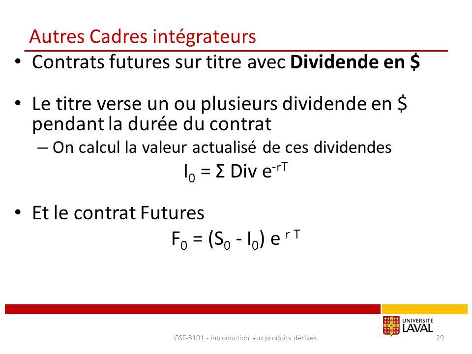 Autres Cadres intégrateurs Contrats futures sur titre avec Dividende en $ Le titre verse un ou plusieurs dividende en $ pendant la durée du contrat –