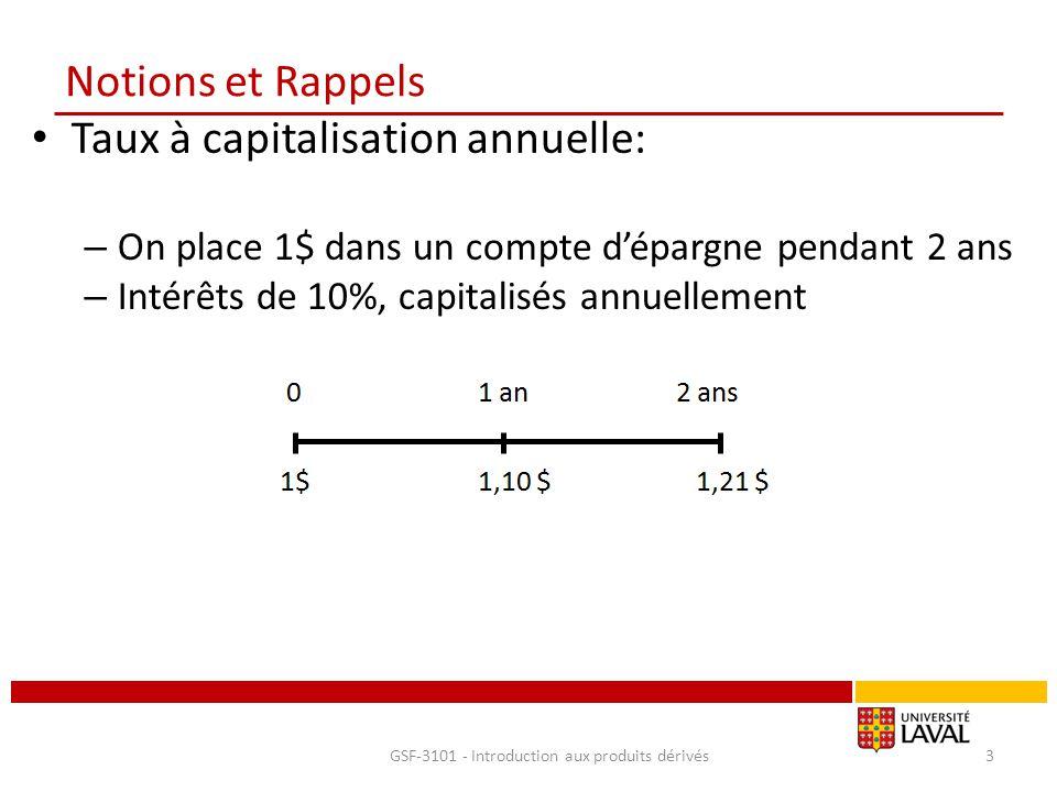 Notions et Rappels Taux à capitalisation annuelle: – On place 1$ dans un compte d'épargne pendant 2 ans – Intérêts de 10%, capitalisés annuellement GS