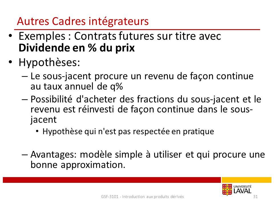 Autres Cadres intégrateurs Exemples : Contrats futures sur titre avec Dividende en % du prix Hypothèses: – Le sous-jacent procure un revenu de façon c
