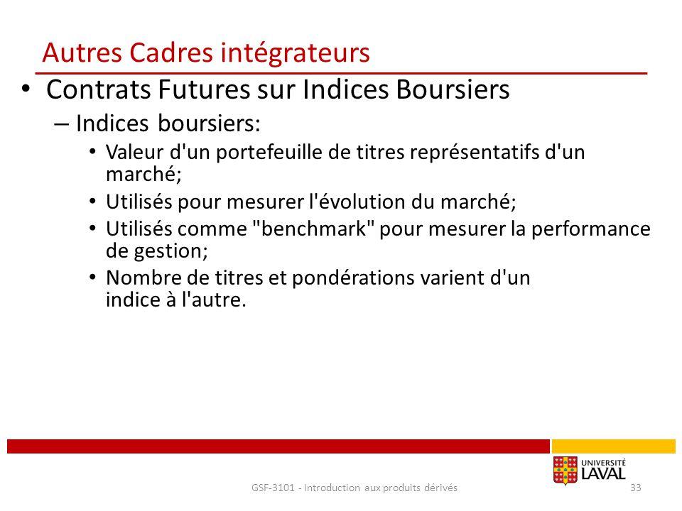 Autres Cadres intégrateurs Contrats Futures sur Indices Boursiers – Indices boursiers: Valeur d'un portefeuille de titres représentatifs d'un marché;