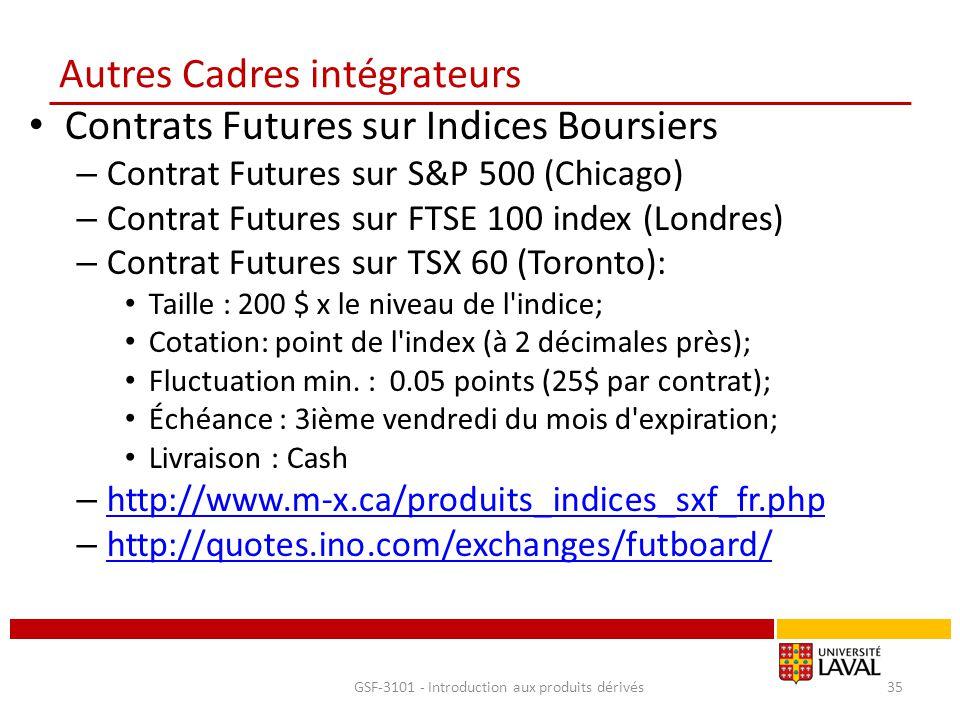 Autres Cadres intégrateurs Contrats Futures sur Indices Boursiers – Contrat Futures sur S&P 500 (Chicago) – Contrat Futures sur FTSE 100 index (Londre