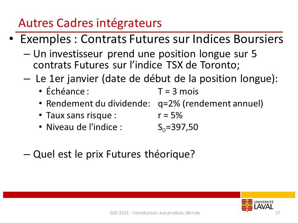 Autres Cadres intégrateurs Exemples : Contrats Futures sur Indices Boursiers – Un investisseur prend une position longue sur 5 contrats Futures sur l'