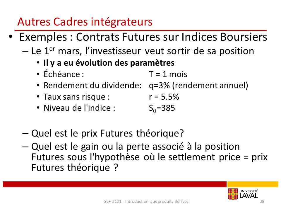 Autres Cadres intégrateurs Exemples : Contrats Futures sur Indices Boursiers – Le 1 er mars, l'investisseur veut sortir de sa position Il y a eu évolu