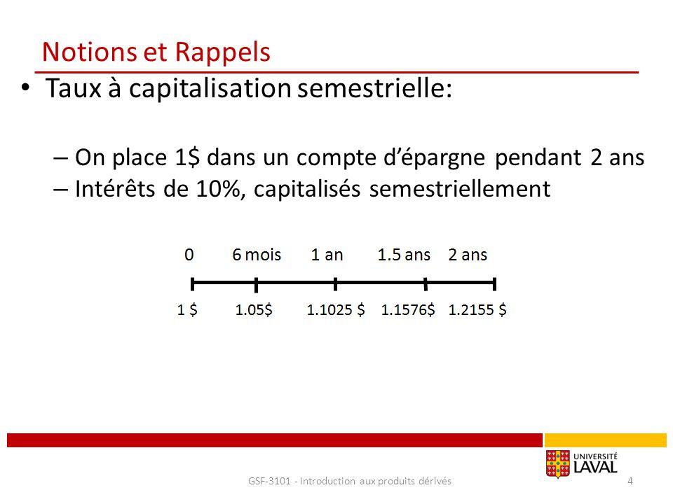 Notions et Rappels Taux à capitalisation semestrielle: – On place 1$ dans un compte d'épargne pendant 2 ans – Intérêts de 10%, capitalisés semestriell