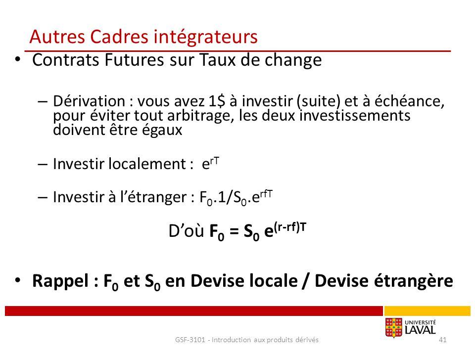 Autres Cadres intégrateurs Contrats Futures sur Taux de change – Dérivation : vous avez 1$ à investir (suite) et à échéance, pour éviter tout arbitrag