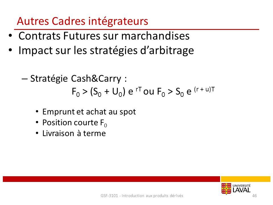Autres Cadres intégrateurs Contrats Futures sur marchandises Impact sur les stratégies d'arbitrage – Stratégie Cash&Carry : F 0 > (S 0 + U 0 ) e rT ou