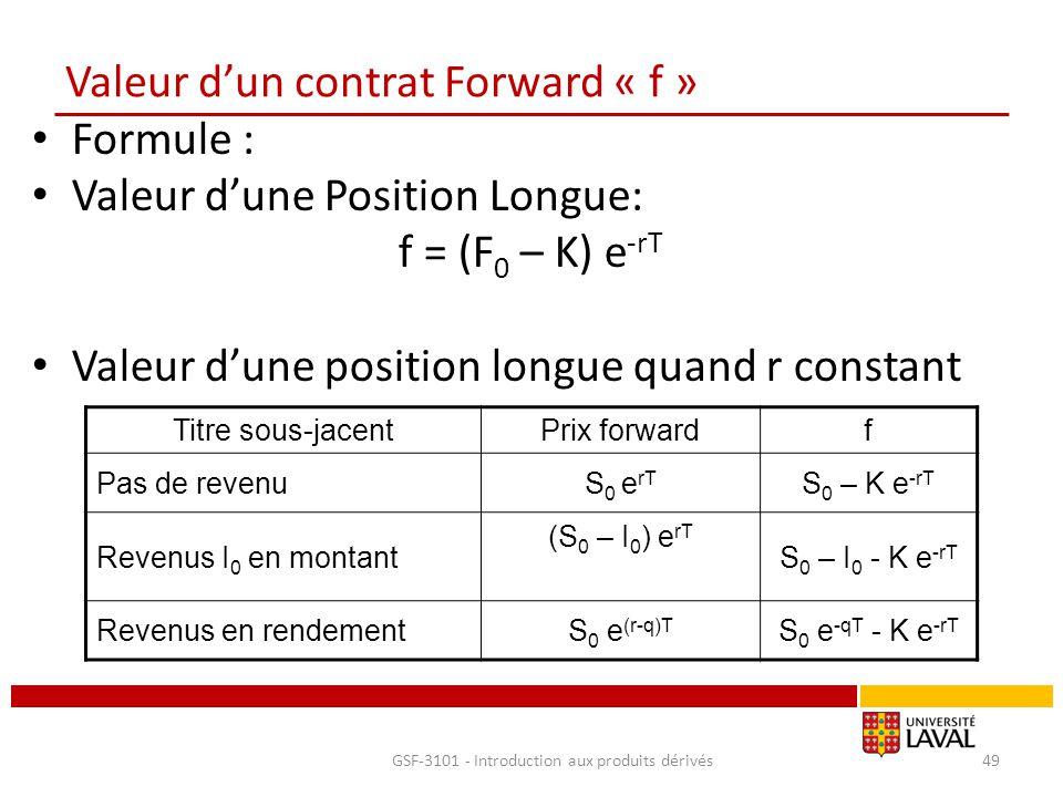 Valeur d'un contrat Forward « f » Formule : Valeur d'une Position Longue: f = (F 0 – K) e -rT Valeur d'une position longue quand r constant GSF-3101 -
