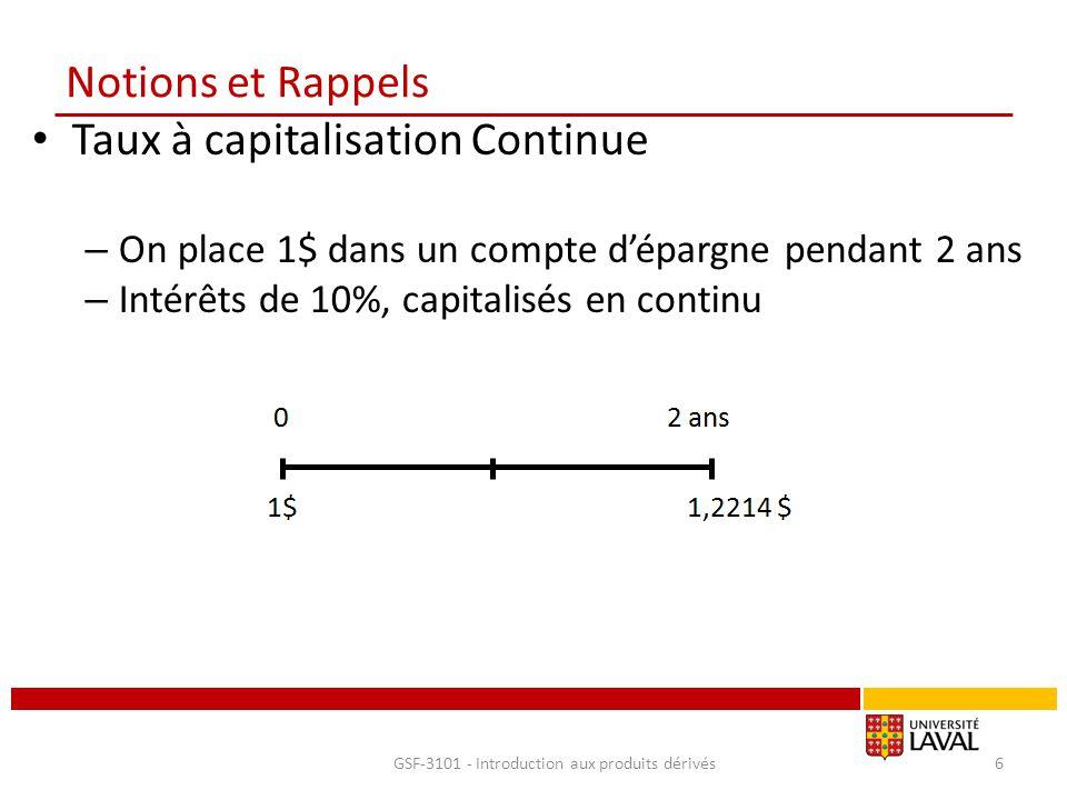 Notions et Rappels Taux à capitalisation Continue – On place 1$ dans un compte d'épargne pendant 2 ans – Intérêts de 10%, capitalisés en continu GSF-3