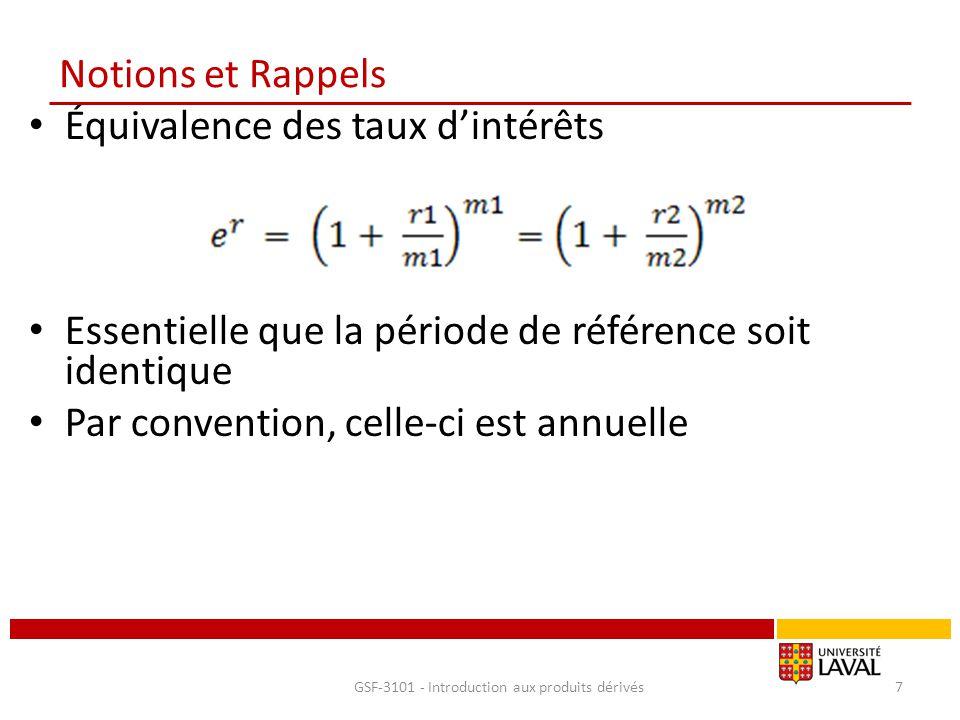 Notions et Rappels Équivalence des taux d'intérêts Essentielle que la période de référence soit identique Par convention, celle-ci est annuelle GSF-31