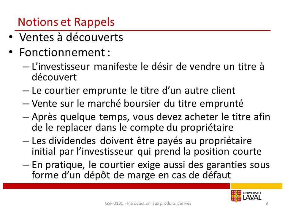 Notions et Rappels Ventes à découverts Fonctionnement : – L'investisseur manifeste le désir de vendre un titre à découvert – Le courtier emprunte le t