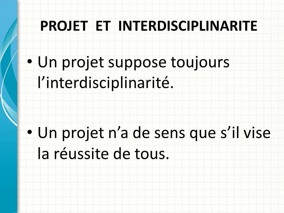 PROJET ET INTERDISCIPLINARITE Un projet suppose toujours l'interdisciplinarité.