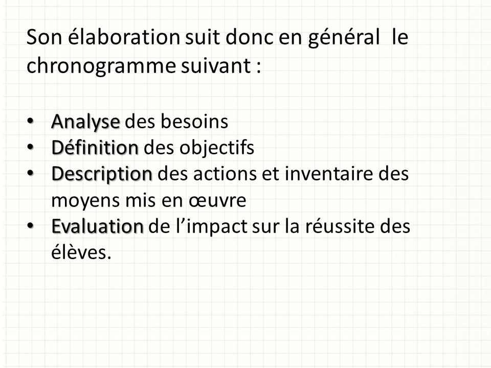 APRES : Evaluation en fin de projet.