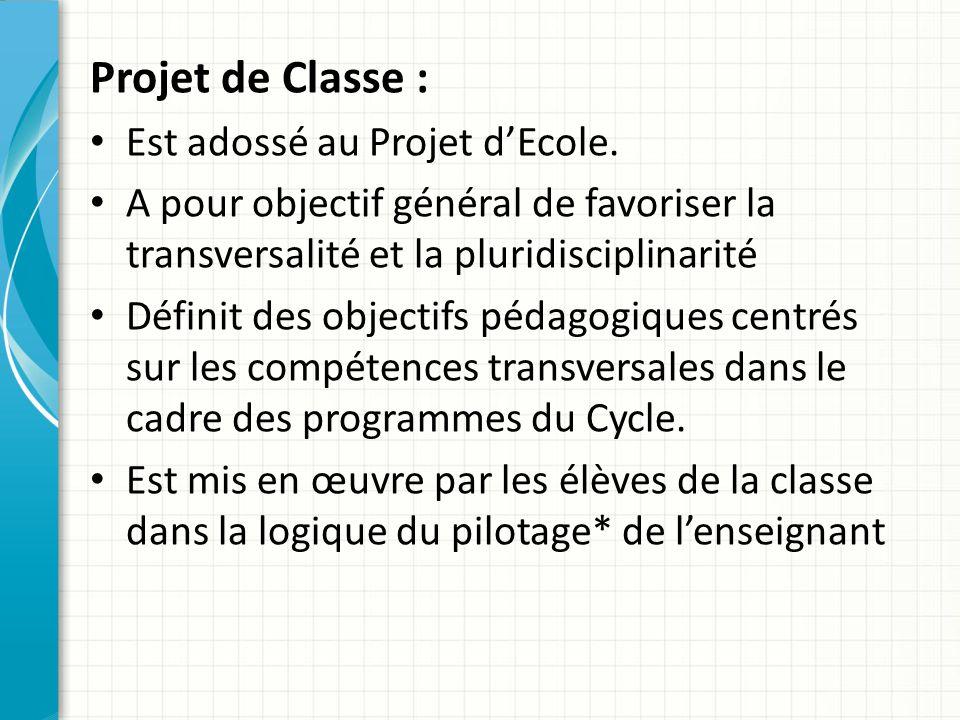 Projet du Maître : S'inscrit dans la logique du Projet d'Ecole Est fortement imbriqué dans le Projet de Classe car il en fixe la logique de pilotage*.