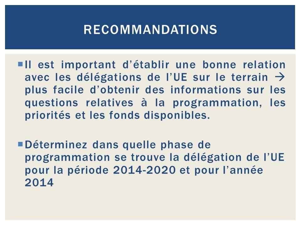 RECOMMANDATIONS  Il est important d'établir une bonne relation avec les délégations de l'UE sur le terrain  plus facile d'obtenir des informations s