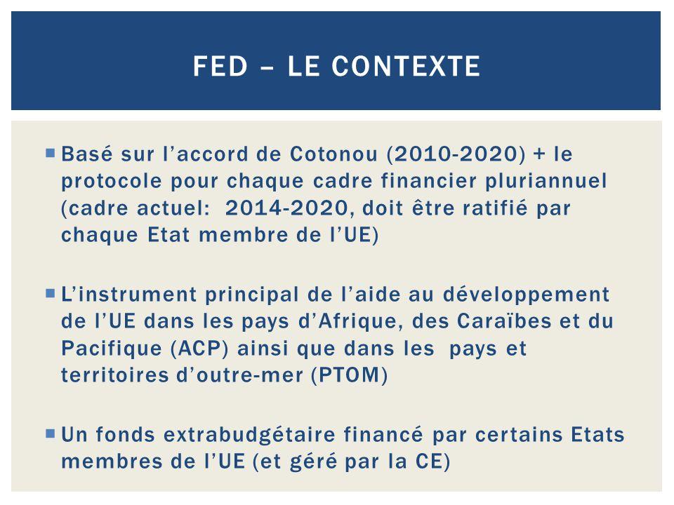 Basé sur l'accord de Cotonou (2010-2020) + le protocole pour chaque cadre financier pluriannuel (cadre actuel: 2014-2020, doit être ratifié par chaq