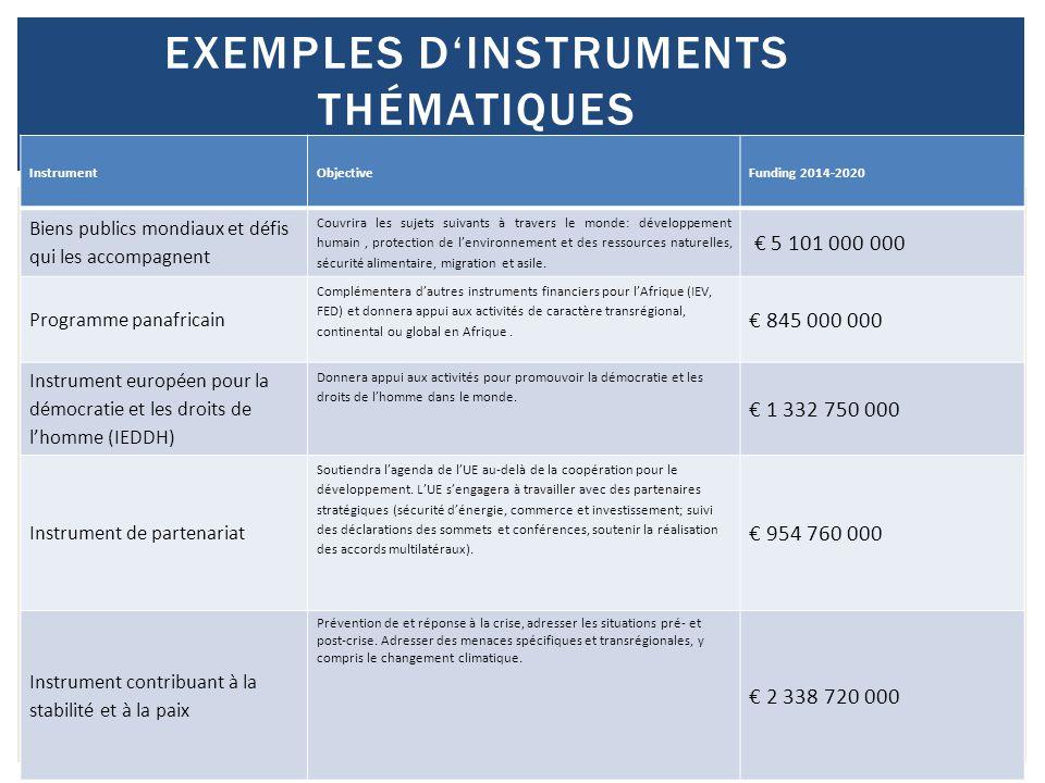 25 EXEMPLES D'INSTRUMENTS THÉMATIQUES InstrumentObjectiveFunding 2014-2020 Biens publics mondiaux et défis qui les accompagnent Couvrira les sujets su