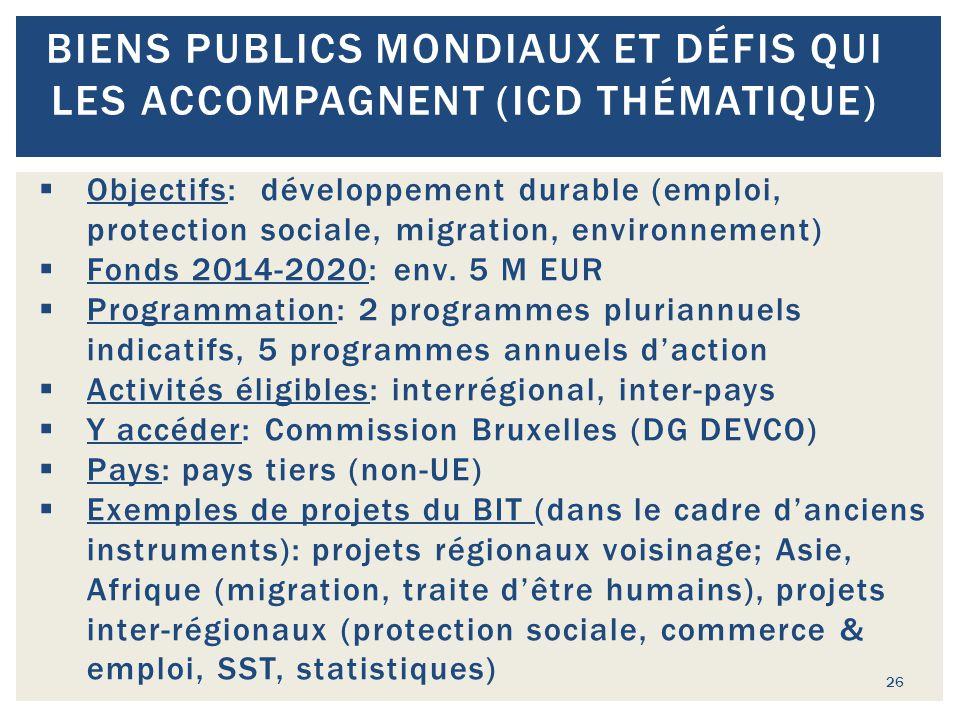 26 BIENS PUBLICS MONDIAUX ET DÉFIS QUI LES ACCOMPAGNENT (ICD THÉMATIQUE)  Objectifs: développement durable (emploi, protection sociale, migration, en