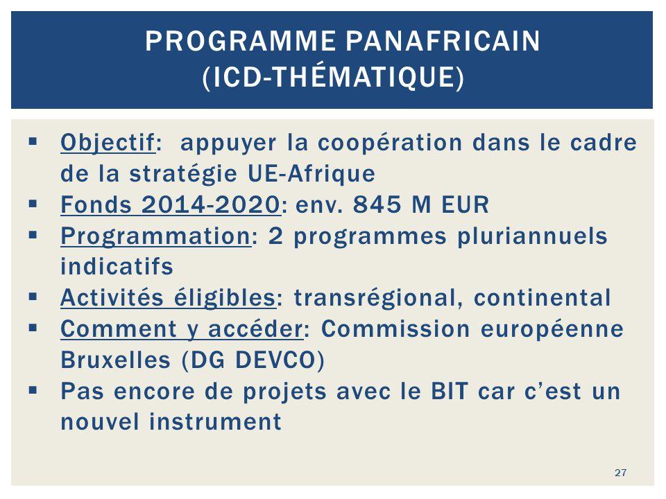 27 PROGRAMME PANAFRICAIN (ICD-THÉMATIQUE)  Objectif: appuyer la coopération dans le cadre de la stratégie UE-Afrique  Fonds 2014-2020: env. 845 M EU