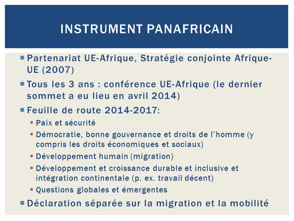  Partenariat UE-Afrique, Stratégie conjointe Afrique- UE (2007)  Tous les 3 ans : conférence UE-Afrique (le dernier sommet a eu lieu en avril 2014)