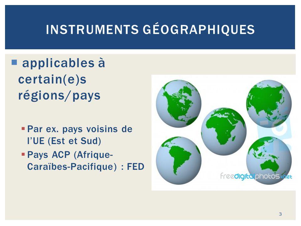 INSTRUMENTS GÉOGRAPHIQUES  applicables à certain(e)s régions/pays  Par ex. pays voisins de l'UE (Est et Sud)  Pays ACP (Afrique- Caraïbes-Pacifique