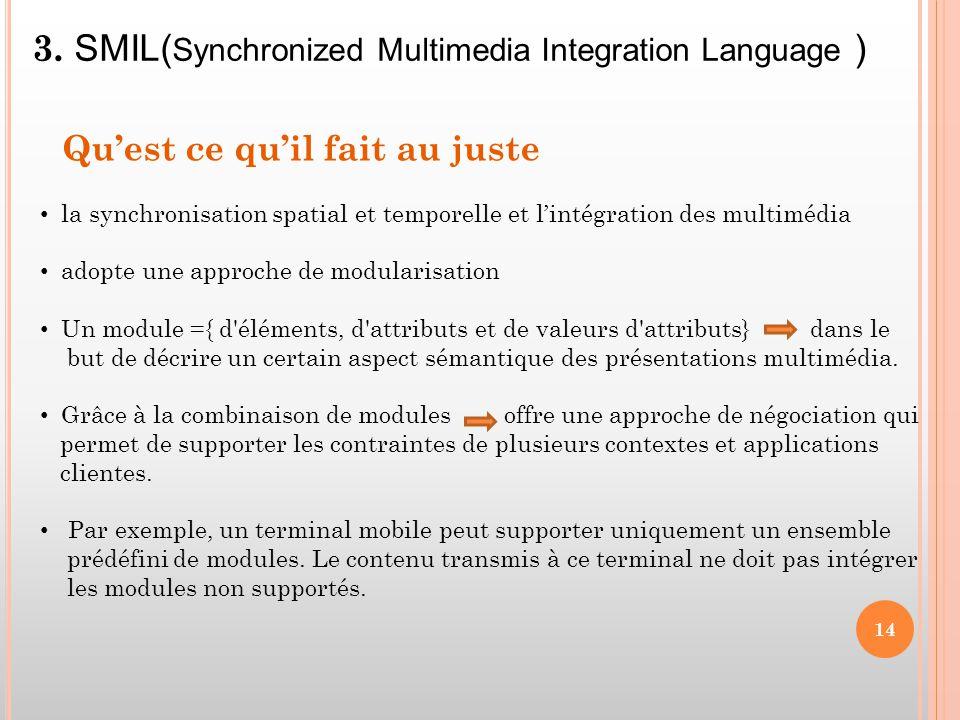 la synchronisation spatial et temporelle et l'intégration des multimédia adopte une approche de modularisation Un module ={ d'éléments, d'attributs et