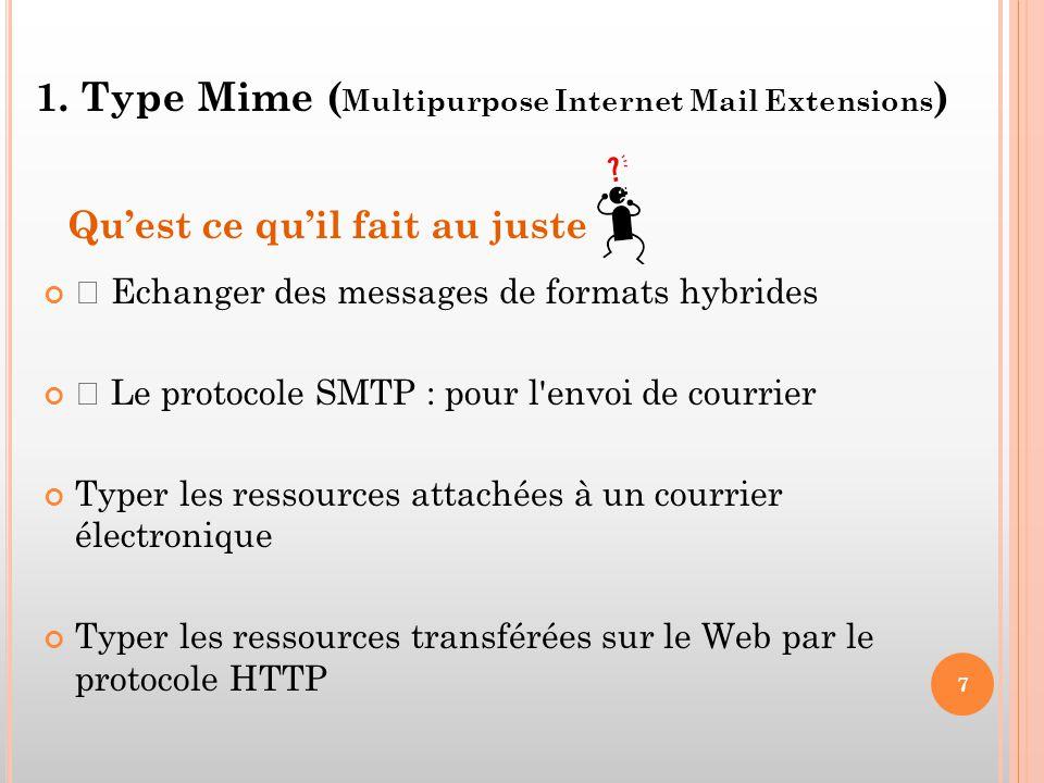 1. Type Mime ( Multipurpose Internet Mail Extensions ) Qu'est ce qu'il fait au juste • Echanger des messages de formats hybrides • Le protocole SMTP :