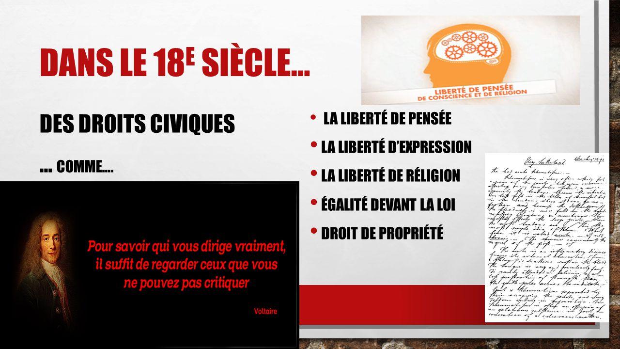 DANS LE 19 E SIÈCLE… DES DROITS POLITIQUES … COMME….