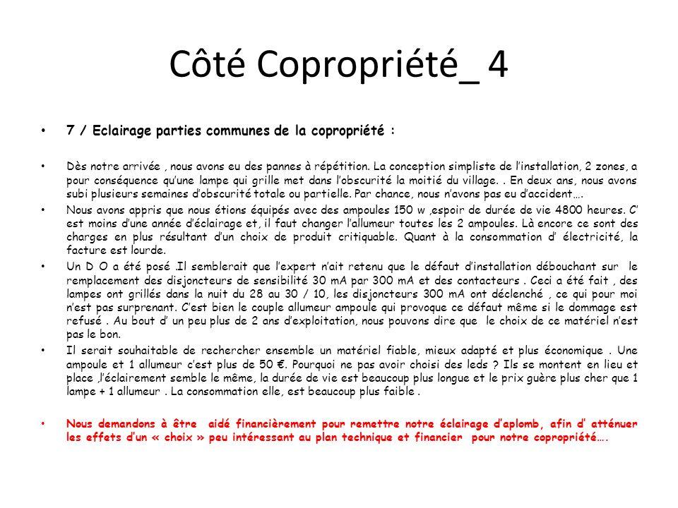 Côté Copropriété_ 4 7 / Eclairage parties communes de la copropriété : Dès notre arrivée, nous avons eu des pannes à répétition.