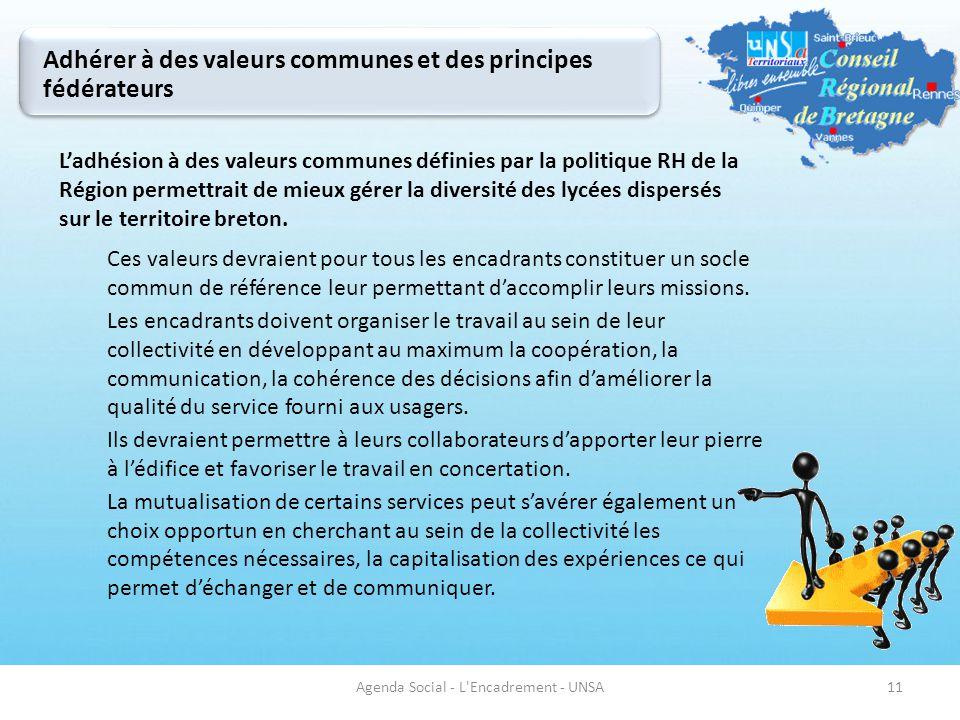 Adhérer à des valeurs communes et des principes fédérateurs 11 L'adhésion à des valeurs communes définies par la politique RH de la Région permettrait
