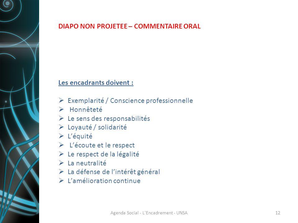 Les encadrants doivent :  Exemplarité / Conscience professionnelle  Honnêteté  Le sens des responsabilités  Loyauté / solidarité  L'équité  L'éc