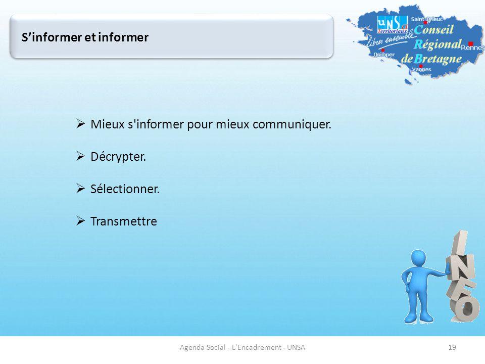 Mieux s'informer pour mieux communiquer.  Décrypter.  Sélectionner.  Transmettre Agenda Social - L'Encadrement - UNSA19 S'informer et informer