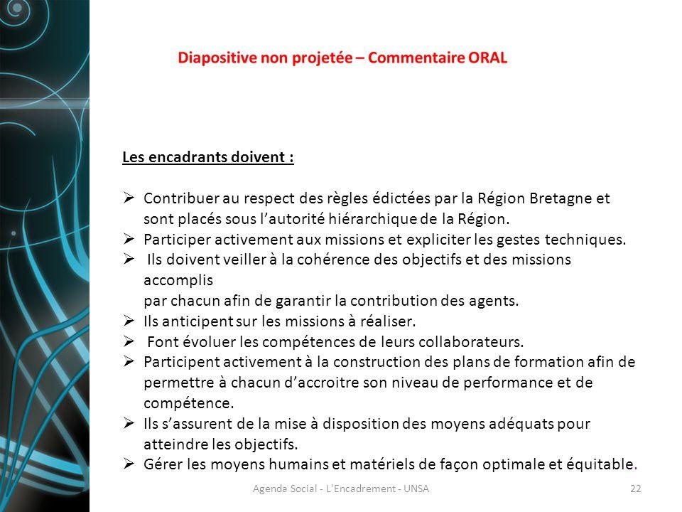 Les encadrants doivent :  Contribuer au respect des règles édictées par la Région Bretagne et sont placés sous l'autorité hiérarchique de la Région.