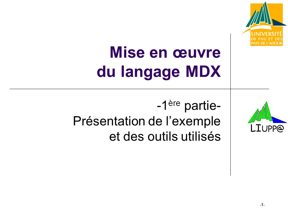 -22- Le Langage MDX Un exemple de calcul with member [Store].[USA+Canada] as Sum({[Store].[All Stores].[USA], [Store].[All Stores].[Canada]}, [Measures].[Store Sales]) select {[Store].[All Stores].[USA], [Store].[All Stores].[Canada], [Store].[USA+Canada]} ON COLUMNS, Descendants([Time].[1997], [Time].[Quarter]) ON ROWS from [Sales]
