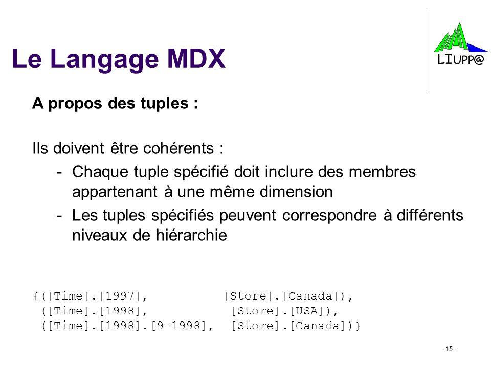-15- Le Langage MDX A propos des tuples : Ils doivent être cohérents : -Chaque tuple spécifié doit inclure des membres appartenant à une même dimensio