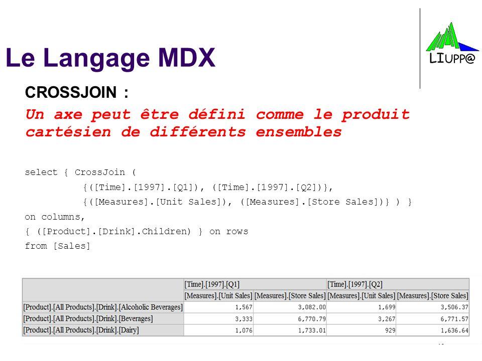 -16- Le Langage MDX CROSSJOIN : Un axe peut être défini comme le produit cartésien de différents ensembles select { CrossJoin ( {([Time].[1997].[Q1]),