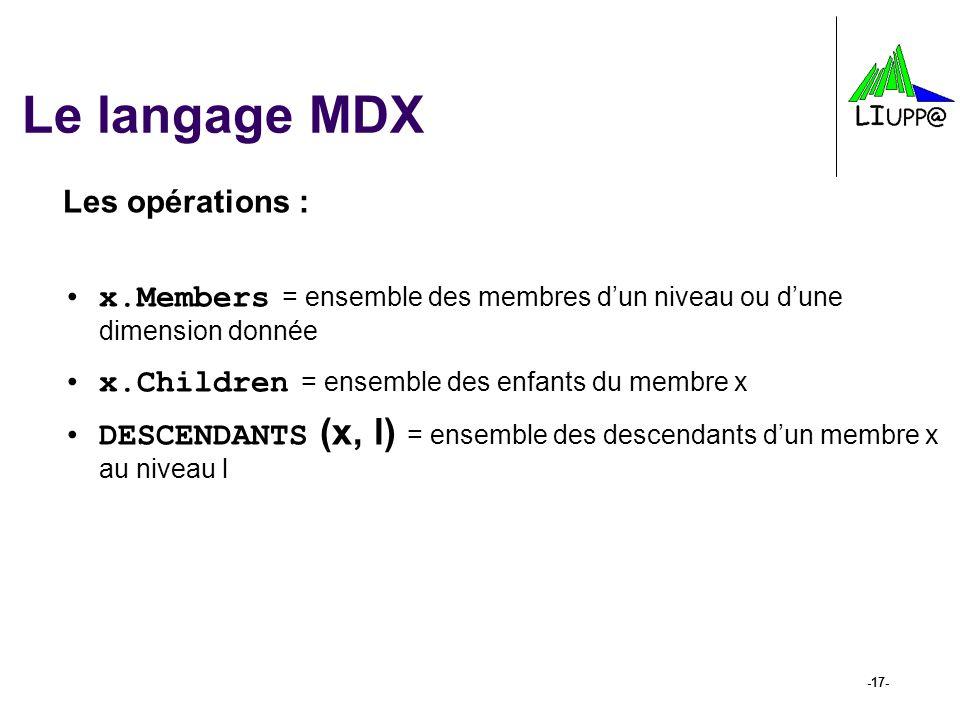 -17- Le langage MDX Les opérations : x.Members = ensemble des membres d'un niveau ou d'une dimension donnée x.Children = ensemble des enfants du membr