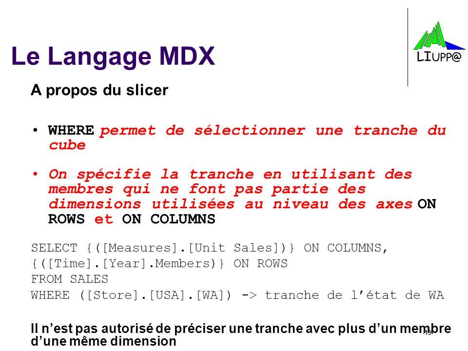 -19- Le Langage MDX A propos du slicer WHERE permet de sélectionner une tranche du cube On spécifie la tranche en utilisant des membres qui ne font pa