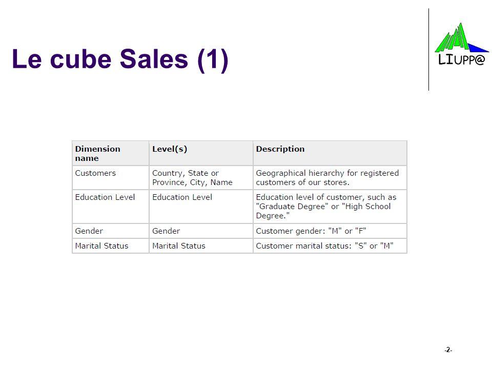 Exemples de requêtes MDX select { ([Measures].[Unit Sales], [Product].[Food]), ([Measures].[Unit Sales], [Product].[Drink]) } on columns, {([Time].[1997]), ([Time].[1998])} on rows from [Sales] where { ([Gender].[M]) } -13-  Utilisation d'un prédicat de slice