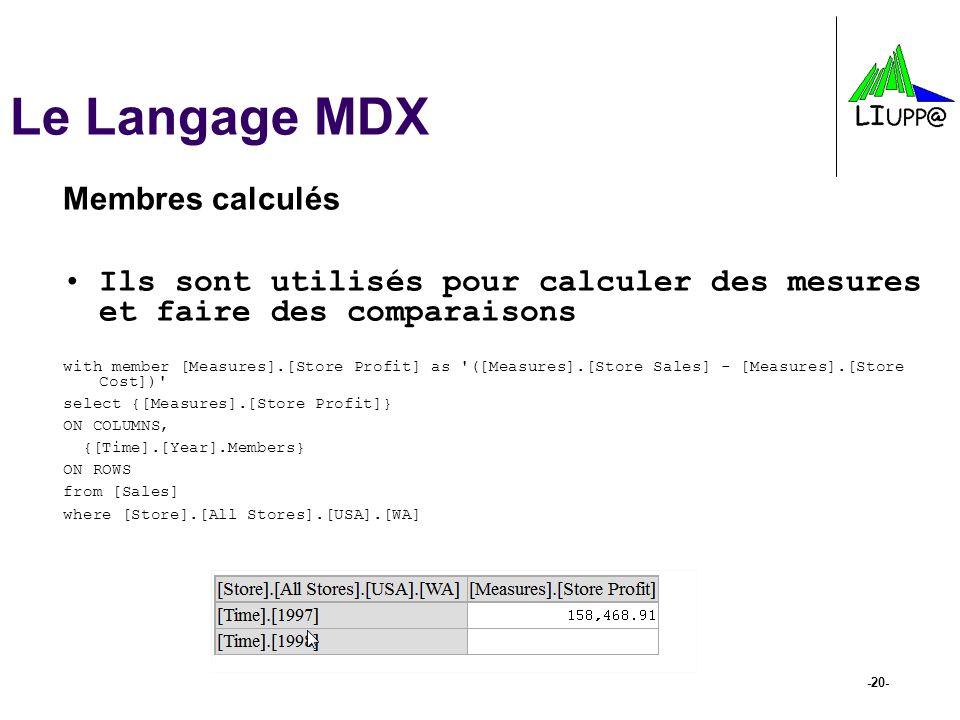 -20- Le Langage MDX Membres calculés Ils sont utilisés pour calculer des mesures et faire des comparaisons with member [Measures].[Store Profit] as '(