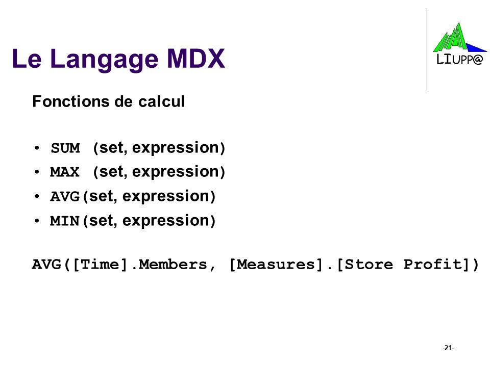 -21- Le Langage MDX Fonctions de calcul SUM ( set, expression ) MAX ( set, expression ) AVG( set, expression ) MIN( set, expression ) AVG([Time].Membe