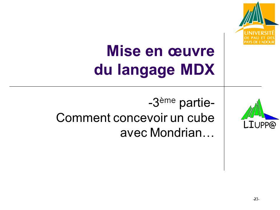 Mise en œuvre du langage MDX -3 ème partie- Comment concevoir un cube avec Mondrian… -23-