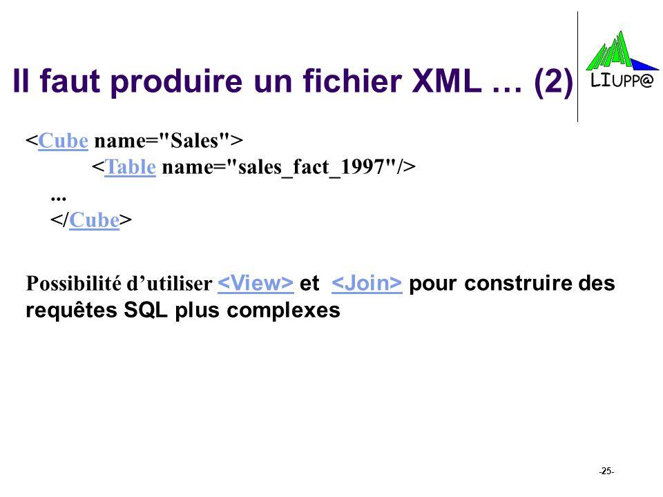 -25- Il faut produire un fichier XML … (2)... CubeTableCube Possibilité d'utiliser et pour construire des requêtes SQL plus complexes