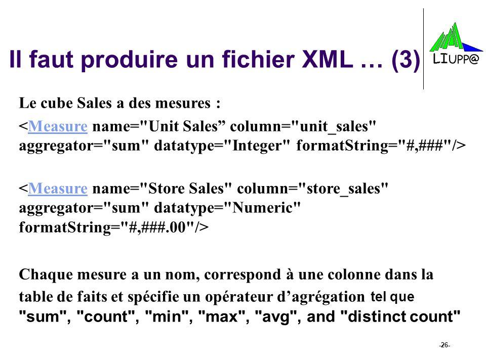 -26- Il faut produire un fichier XML … (3) Le cube Sales a des mesures : Measure Measure Chaque mesure a un nom, correspond à une colonne dans la tabl