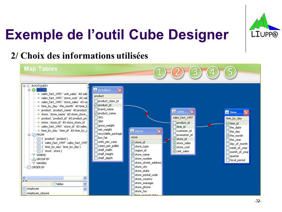-32- Exemple de l'outil Cube Designer 2/ Choix des informations utilisées